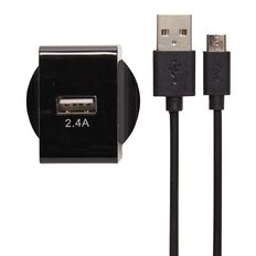 Tech.Inc Micro USB Wall Charger 2.4A Black
