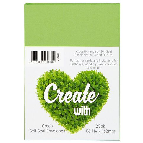 Create With C6 Envelopes 25 Pack Green