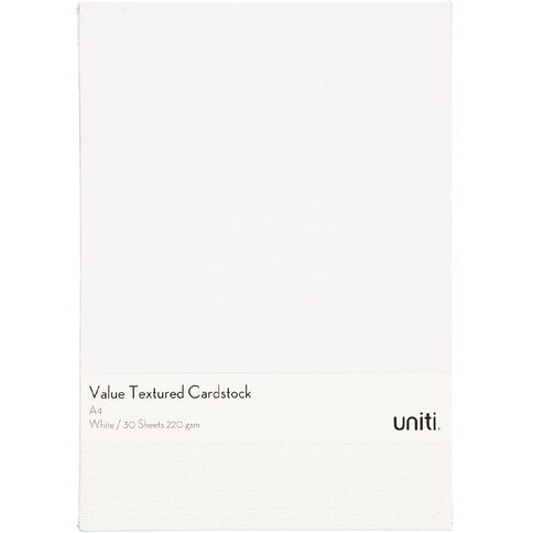 U-Do Value Cardstock Textured 220gsm 30 Sheets White A4