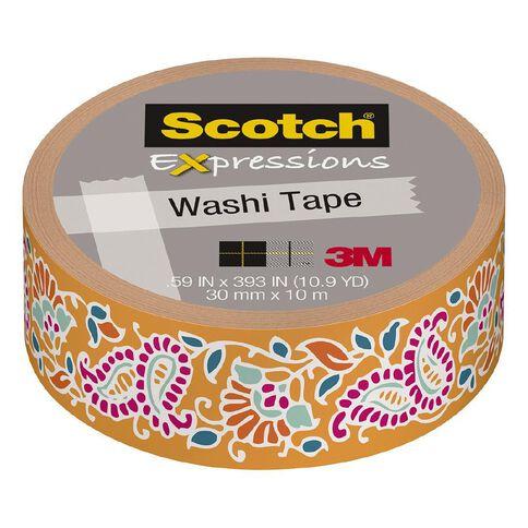 Scotch Washi Craft Tape 15mm x 10m Tangerine Paisley