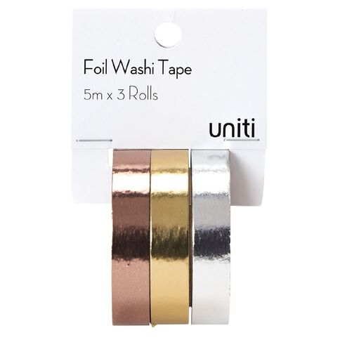 Uniti Washi Tape Foil 10mm x 5m 3 Pack
