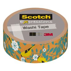 Scotch Washi Craft Tape 15mm x 10m Orange Tropical Birds