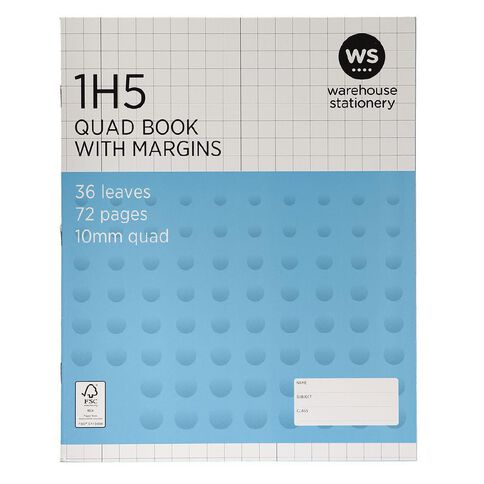 WS Exercise Book 1H5 With Margins 36 Leaf White