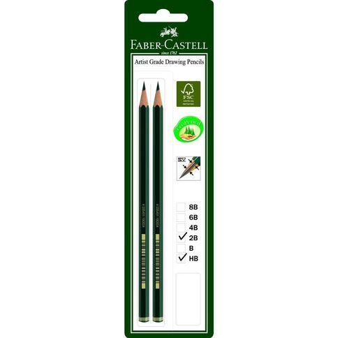 Faber-Castell 9000 Pencil 2 Pack 2B HB Black