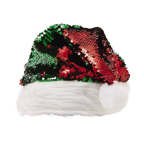 Wonderland Reversible Sequin Santa Hat Red/Green