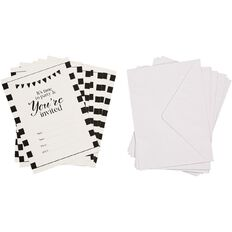 Party Inc Black & White Stripe Invitations with Envelopes 8 Pack