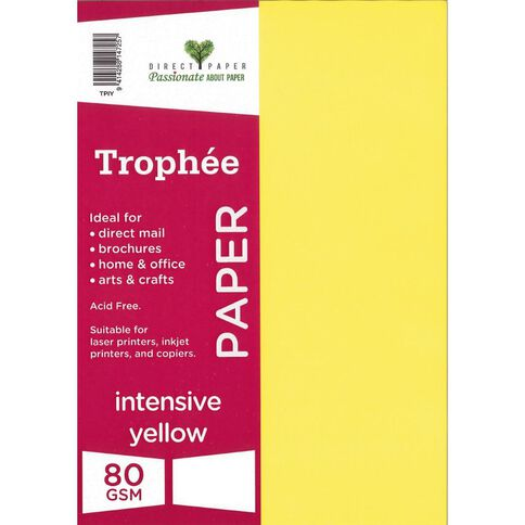 Trophee Paper A4 80Gsm 500Pk Intensive Yellow Yellow