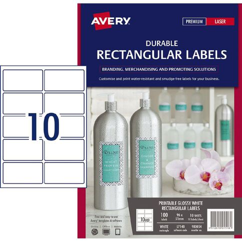 Avery Durable Rectangle Labels White 100 Labels