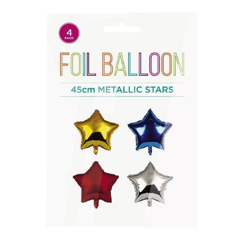 Metallic Foil Balloons Stars 45cm Multi-Coloured 4 Pack