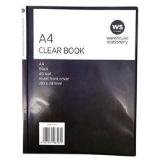 WS Clear Book Overlay 40 Leaf Black A4