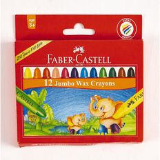 Faber-Castell Crayons Jumbo Wax 12 Pack Multi-Coloured 12 Pack