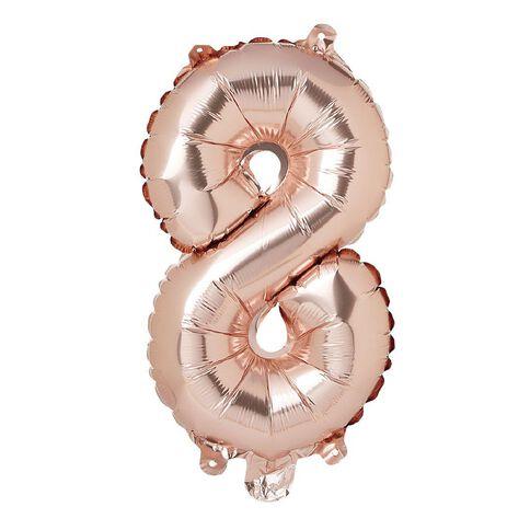 Artwrap Party Foil Balloon Number 8 Rose Gold 35cm
