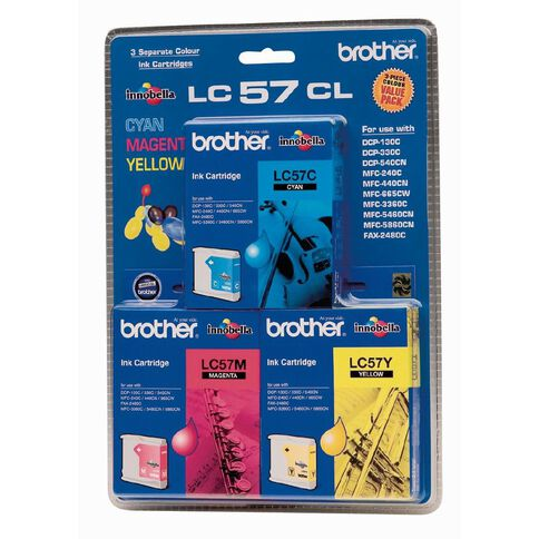 Brother Ink LC57 Colour 3 Pack (400 pages)