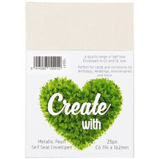 Create With C6 Envelopes 25 Pack Metallic Pearl