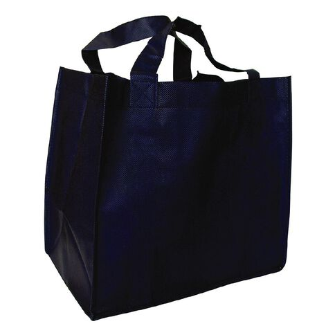 Navy Reusable Non Woven Grocer Bag with Base 5 Pack