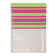 ColourHide Designer Notebook 120 Pages Stripe Green A4