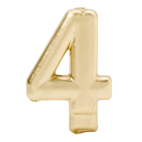 Candle Metallic Numeral #4 Gold
