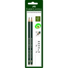 Faber-Castell Drawing Pencil 9000 4B HB 2 Pack Black