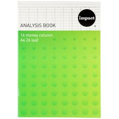 WS Analysis Book Limp 14 Column Green A4