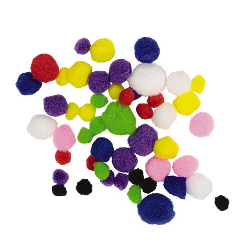 Kookie Pom Poms Multi-Coloured 50 Pack