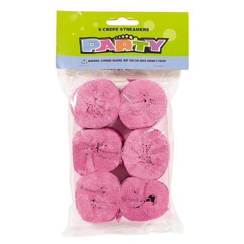 Meteor Crepe Streamers Hot Pink 6 Pack