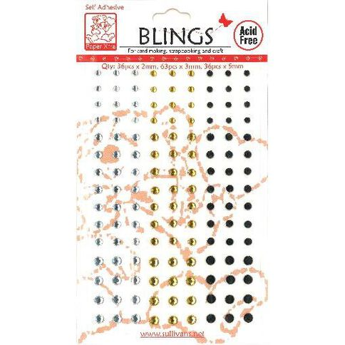 Blings Stick On Silver/Gold/Black