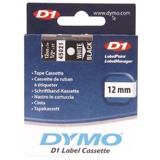 Dymo Label Tape 1000 White/Black 12mm x 7m