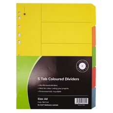 Office Supply Co 5 Tab Coloured Manilla Dividers