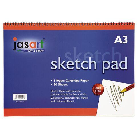 Jasart Sketch Pad Spiral 20 Sheets A3