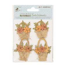 Little Birdie Shades of Brown Flower Baskets 4 Piece Kraft Expresstion