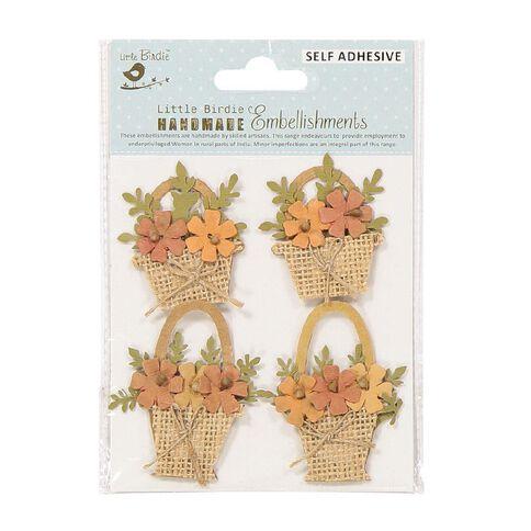 Little Birdie Shades of Brown Flower Baskets 4 Piece Kraft Expresstion
