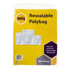 Marbig Resealable Polybags 305x440mm w/writing panel 25Pk