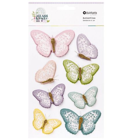 Rosie's Studio Glasshouse Butterflies 8 Piece