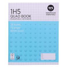 WS Exercise Book 1H5 10mm Quad 36 Leaf Blue