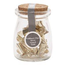 Uniti Foldback Clips In Glass Jar Gold