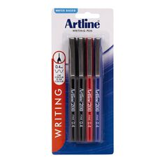 Artline 200 Pen 0.4mm 4 Pack Assorted