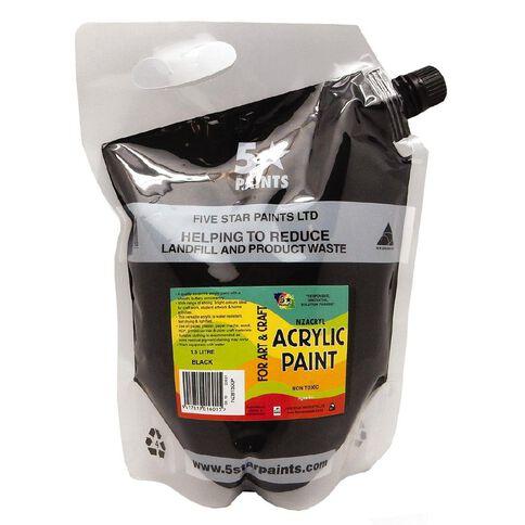 Fivestar Acrylic Paint Black 1.5 litre Pouch