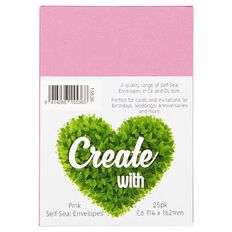 Create With C6 Envelopes 25 Pack Pink