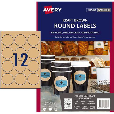 Avery Round Labels Kraft Brown 60mm Diameter 180 Labels
