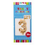 Artwrap Party Foil Balloon Number 3 Rose Gold 35cm