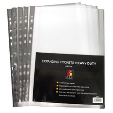 Office Supply Co Copysafe Expandable Pockets Heavy Duty 5 Pack Clear A4