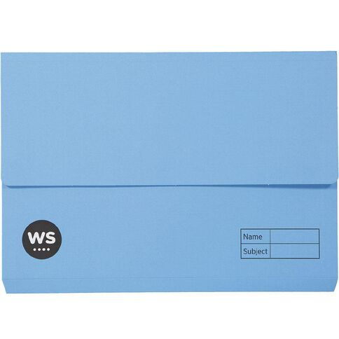 WS Manilla Document Wallet Foolscap Blue