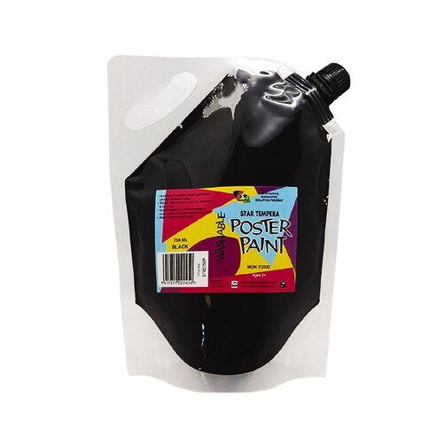 Fivestar Tempera Poster Paint Pouch Black 750ml Black 750ml