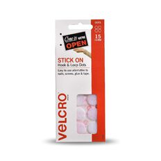 VELCRO Brand Hook & Loop Stick On Mini Dots 15 Set White