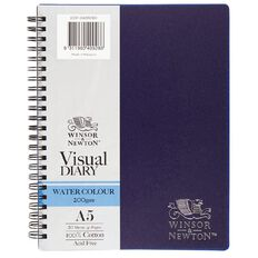 Winsor & Newton Watercolour Visual Diary Spiral 200gsm A5 20 Sheets Blue