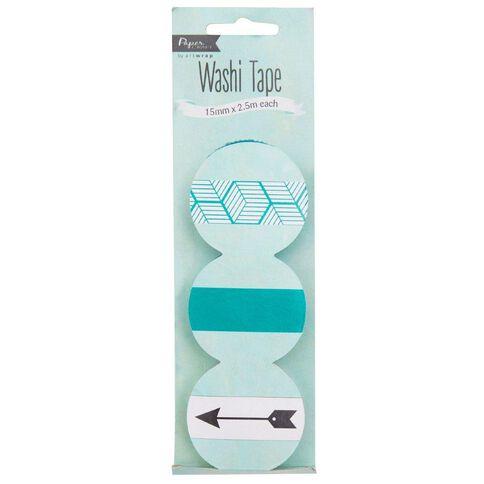 artwrap Paper Craft Washi Tape 3 Pack Teal