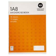 WS Exercise Book 1A8 Blank 36 Leaf Unruled 297 x 210mm Orange A4