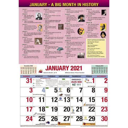 Bartel 2021 EzyCal Easy to Read Wall Calendar 304x215mm