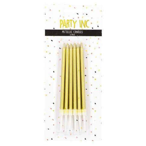 Party Inc Birthday Candles Metallic Slim Assorted 12 Pack