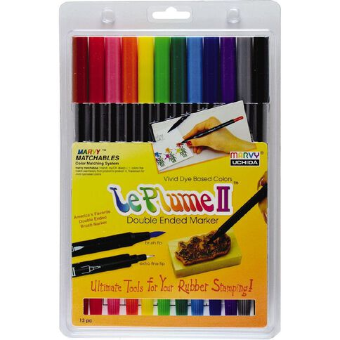 MARVY Le Plume II Dual Tip Marker Set 12 Primary
